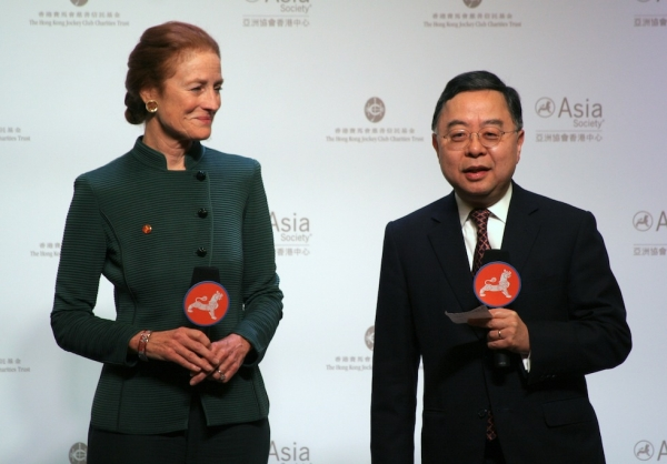 Asia Society Co-Chairs Henrietta Fore (L) and Ronnie Chan (R) at the opening of Asia Society's Hong Kong Center on February 9, 2012. (Bill Swersey/Asia Society)