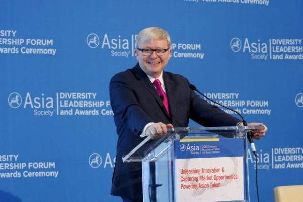 Asia Society Policy Institute President Kevin Rudd delivers a speech at the 2015 Diversity Leadership Forum. (Ellen Wallop/Asia Society)