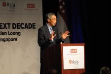 Prime Minister Lee Hsien Loong addresses Houston's business and civic leaders at the Hyatt Regency on July 12, 2010. (Marc Nathan Photographers, Inc.)