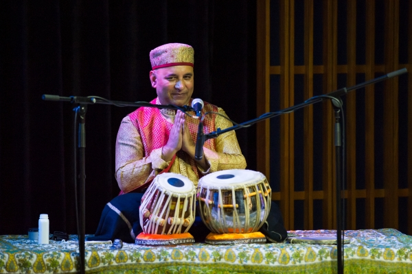 "Chatterjee opened the concert with ""Enchanting Void,"" for solo tabla. (Nick Mak/Asia Society Hong Kong Center)"
