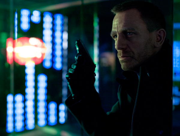 "A still from ""Skyfall"" shows Daniel Craig's James Bond in a gleaming, ultramodern version of Shanghai. (Sony Pictures)"