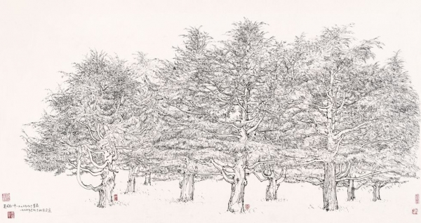 """Snow Covered Pines of Qingdao,"" 1976, Carbonic ink and pen on paper, H. 27.6 in x W. 55.1 in (70 x 140 cm), Shanghai Art Museum"