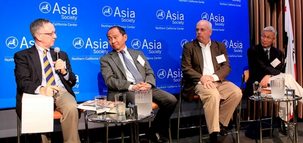 L to R: Tom Gold, Francis Fukuyama, Lenny Mendonca, and Minxin Pei (Asia Society)