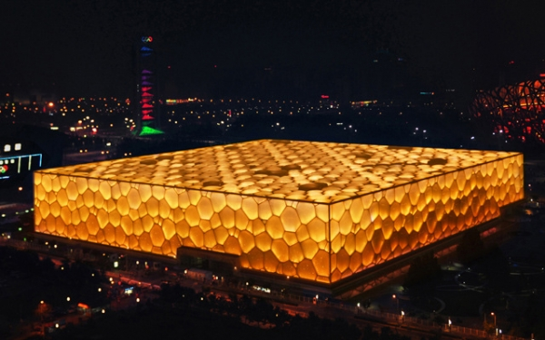 "Beijing's Water Cube lights up with the ""Earth"" theme. (Wang Xin)"