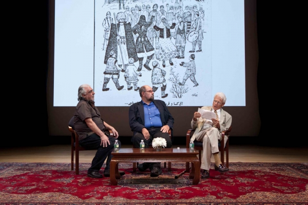 L to R: Mohammad Ghaffari, William O. Beeman and Peter Chelkowski at Asia Society New York on October 5, 2013.