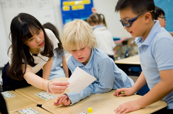 Mathematics at Yinghua is always taught in Chinese—in kindergarten through eighth grade. (Jennifer Hakes/Yinghua Academy)