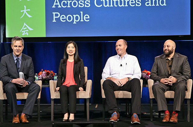 (L to R) Dan Washburn, Carrie Xu, Chad Lewis, and Rafael Stone speak at the 2017 National Chinese Language Conference. (David Keith)