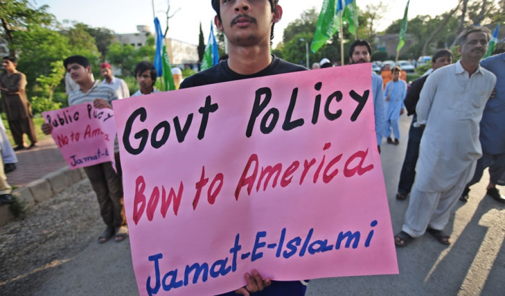 Activists of Jamaat-e-Islami Pakistan hold placards during a rally in Islamabad on May 8, 2011 against the U.S. raid that killed the Al Qaeda chief Osama bin Laden. (Farooq Naeem/AFP/Getty Images)