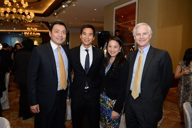 (L to R) Kevin Lam, Douglas Woo, Pamela Tung, John Slosar at Asia Society's second annual Art Gala on May 12, 2014. (Asia Society Hong Kong Center)