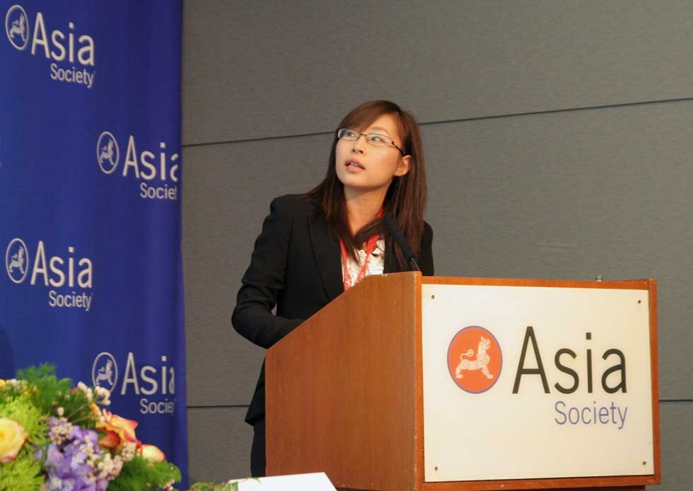 Yang Fang of the Lee Kuan Yew School of Public Policy at the final session on March 15, 2013. (Feng Feng/Asia Society)