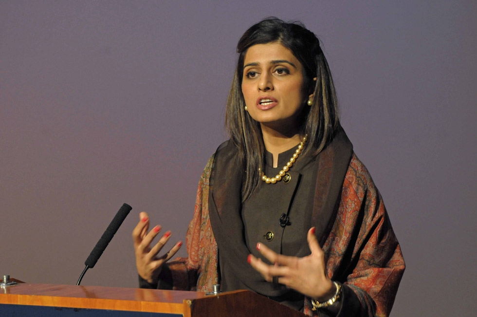 Pakistan Foreign Minister Hina Rabbani Khar addresses Asia Society in New York on Tuesday, January 15, 2013. (Elsa Ruiz/Asia Society)