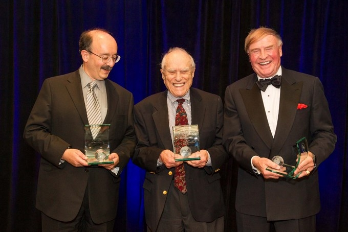 The three honorees pose with their awards. (Drew Altizer/Asia Society)