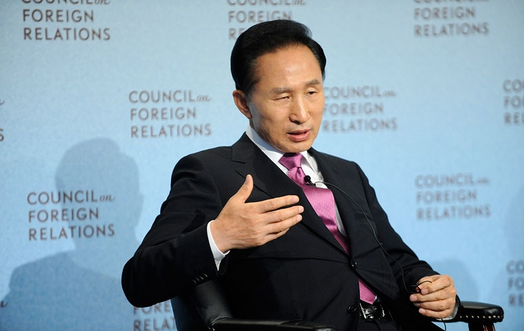 South Korean President Lee Myung-bak at the Council on Foreign Relations on Sept. 21, 2009. (Council on Foreign Relations)