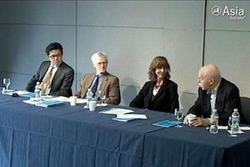 L to R: Alex Wang, Orville Schell, Barbara Finamore, and Jerome Cohen in New York on Nov. 9, 2009.