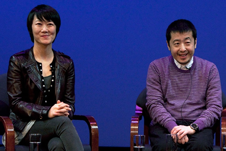 Actress Zhao Tao (L) and director Jia Zhangke (R) discuss their multi-film collaboration at Asia Society New York on Mar. 6, 2010 (7 min., 31 sec.).(Photo: Suzanna Finley/Asia Society)
