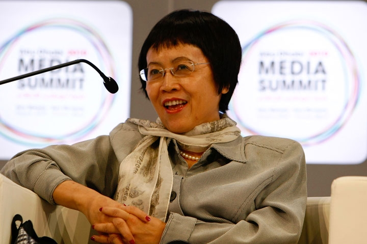 Hu Shuli, Chief Editor of Caixin Media, attends a panel discussion during the inaugural Abu Dhabi Media Summit, on March 11, 2010 in Abu Dhabi, United Arab Emirates. (Ana-Bianca Marin/Getty Images)