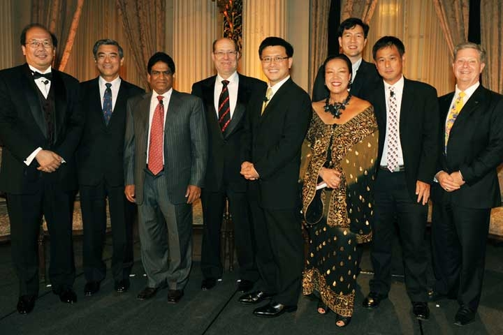 L to R: Dr. Johnson Lau, Tsutomu Tanaka, Raju Vegesna, James Zukin, the Honorable John Chiang, Sue Wong, Daniel Kim, Eric Nakamura, and Thomas McLain. (Dan Avila Photography)