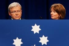 Then-Australian Prime Minister Kevin Rudd and then-Deputy Prime Minister Julia Gillard arrive at the 45th National Labor Conference on July 30, 2009 in Sydney, Australia. (Lisa Maree Williams/Getty Images)