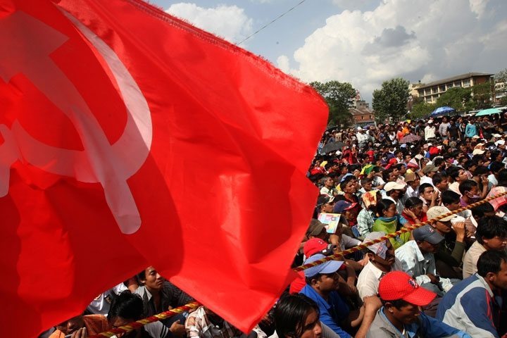 Supporters of the Unified Communist Party of Nepal (Maoist) gather during celebrations of the 2nd anniversary of Republic Day in Kathmandu on May 29, 2010. (Prakash Mathema/AFP/Getty Images)