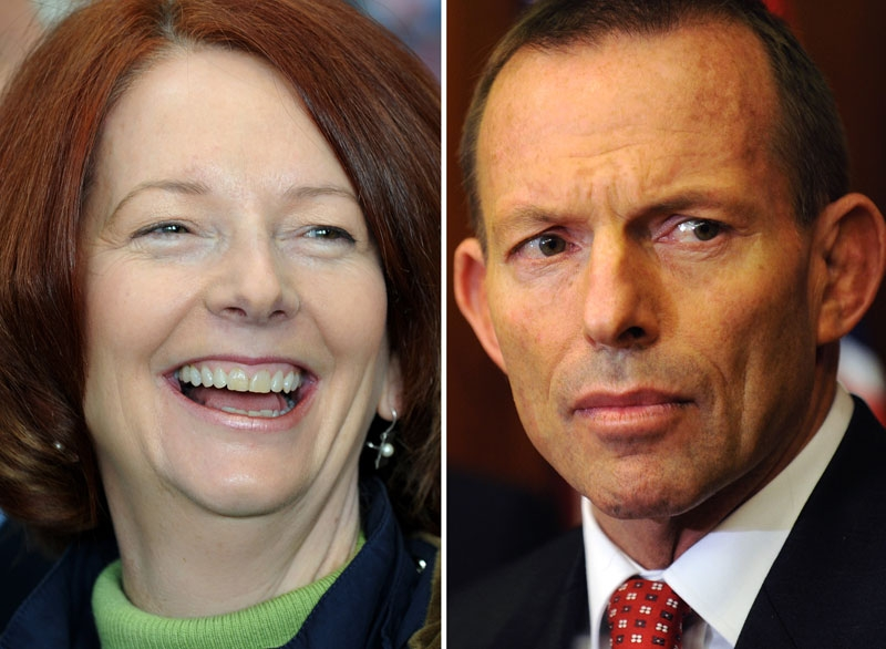 A combination photo shows Australian Prime Minister Julia Gillard (L) and Opposition Leader Tony Abbott. (Getty Images)
