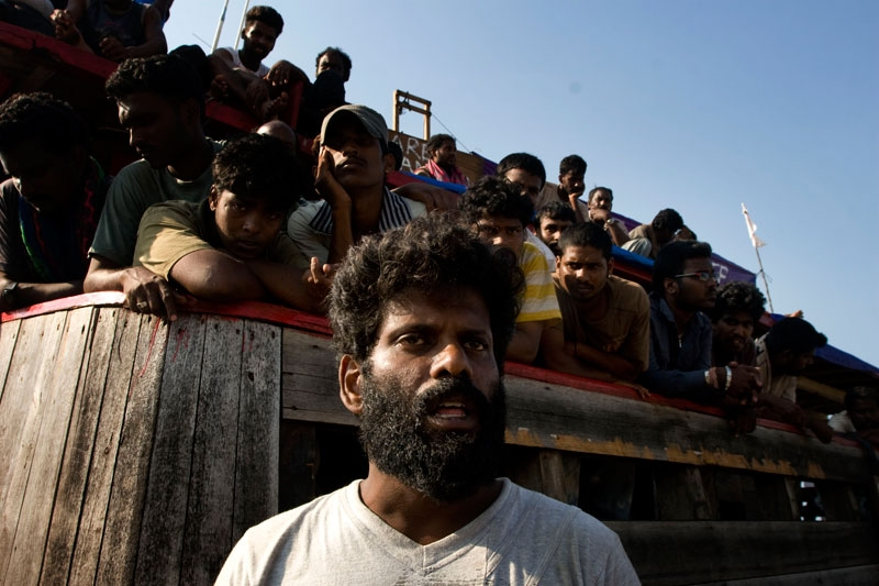 Sri Lankan asylum seekers engage in a hunger strike after their boat broke down on the way to Australia's Christmas Island on October 16, 2009 in Indonesia. (Oscar Siagian/Getty Images)