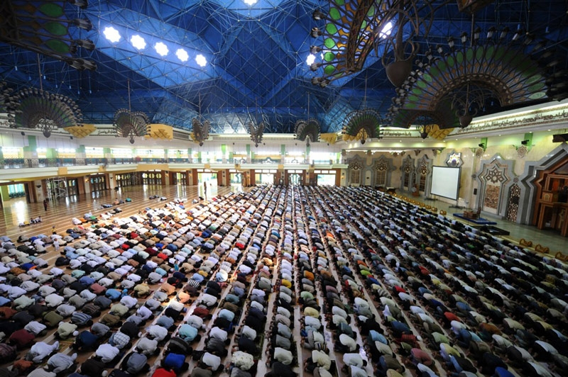 Indonesian Muslims attend Friday prayers on the third day of Ramadan at the Jakarta Islamic Center on August 13, 2010. The mosque complex, which also includes a center for Islamic studies, was built in 2003 in northern Jakarta on the ruins of an infamous red-light neighborhood. (Adek Berry/AFP/Getty Images)