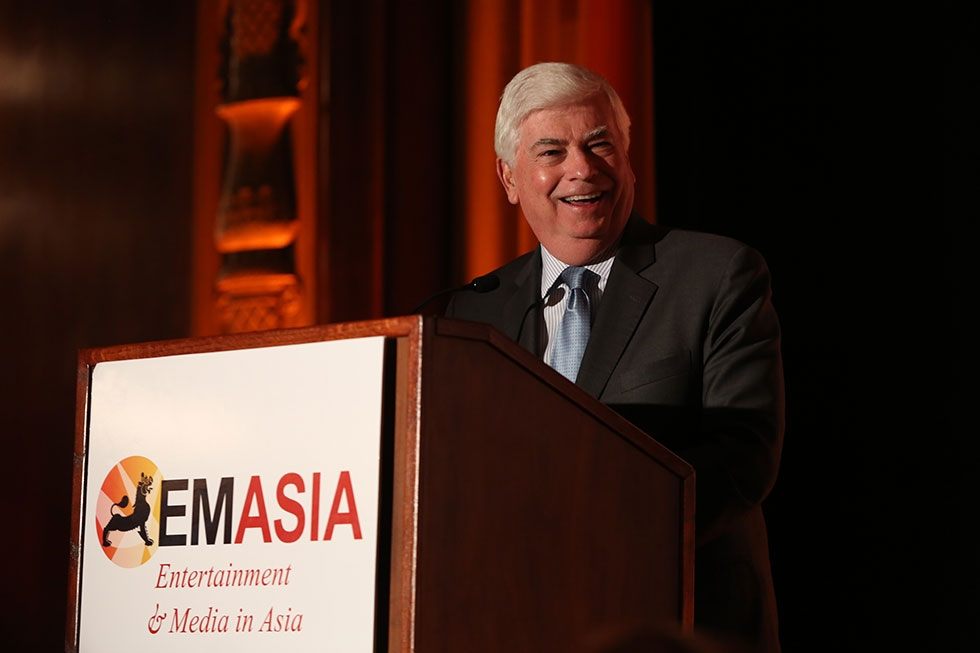 Christopher Dodd, Chairman and CEO, Motion Picture Association of America speaks during the 2013 Asia Society U.S.-China Film Summit and Gala held at the Millennium Biltmore Hotel on Tuesday, November 5, 2013, in Los Angeles, Calif. (Photo by Ryan Miller/Capture Imaging)