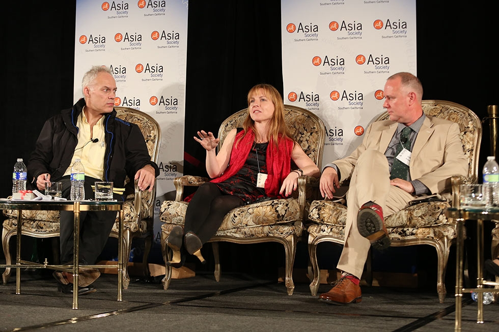 From left, Patrick Frater, Asia Bureau Chief Variety, Julie Makinen, Film Editor, The Los Angeles Times and Clifford Coonan, Asia Bureau Chief, The Hollywood Reporter talk during the 2013 Asia Society U.S.-China Film Summit and Gala held at the Millennium Biltmore Hotel on Tuesday, November 5, 2013, in Los Angeles, Calif. (Photo by Ryan Miller/Capture Imaging)