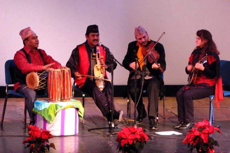 L to R: Musicians Rajendra Karn, Prem Raja Mahat, Danny Knicely, and Tara Linhardt celebrated the musical marriage between Nepal and Appalachia in DC on Dec. 7, 2010. (Szuhan Chen/Asia Society Washington Center)