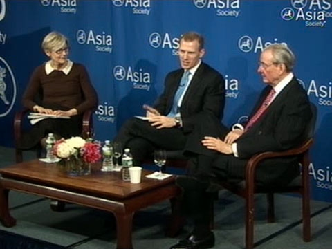 L to R: Kathleen Stephansen, Jamie Metzl, and William R. Rhodes at Asia Society's task force report launch event in New York on Mar. 23, 2011.