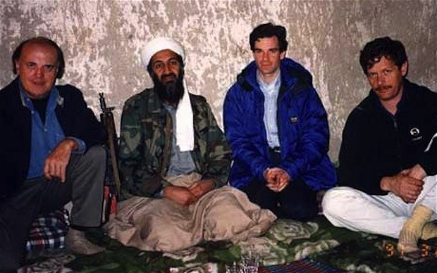 Peter Bergen, second from right, with Osama bin Laden in 1997.