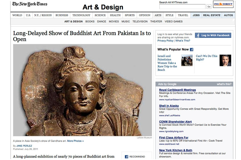 Screen capture of the New York Times article on Asia Society's Gandhara exhibition on July 27, 2011.