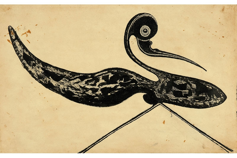 Rabindranath Tagore. Untitled (Striding bird), 1928
