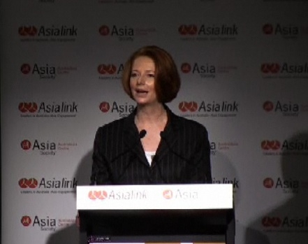 Australia PM Julia Gillard speaks at Asia Society in Melbourne, Australia, September 28, 2011.
