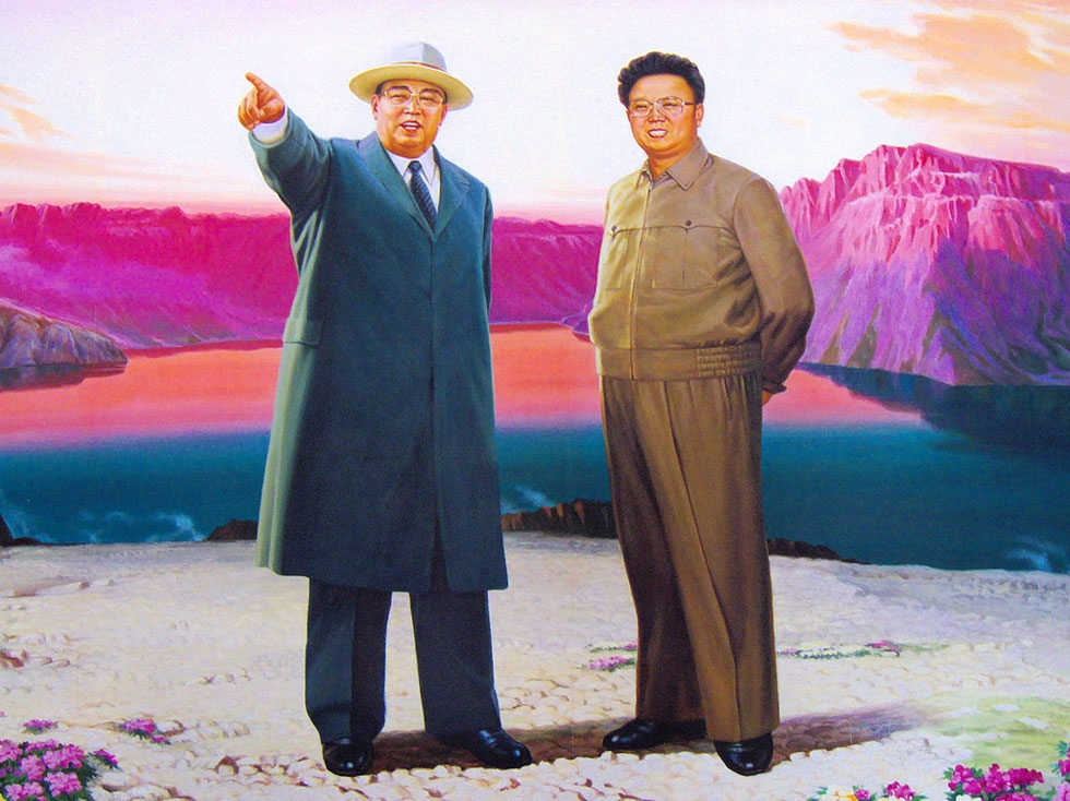 Kim Il Sung (L) and Kim Jong Il are pictured in this piece of propaganda art photographed in North Korea. (Flickr/yeowatzup)