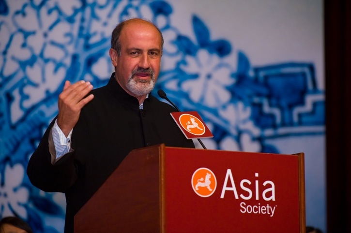 "Featured speaker Nassim Nicholas Taleb gave a talk entitled ""The Elephant in the Room Is Still There."" (Asia Society Hong Kong Center)"