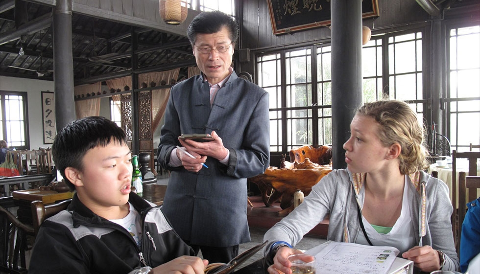 8th grade China Research Residency: interviewing a teahouse owner (Portland Public Schools)