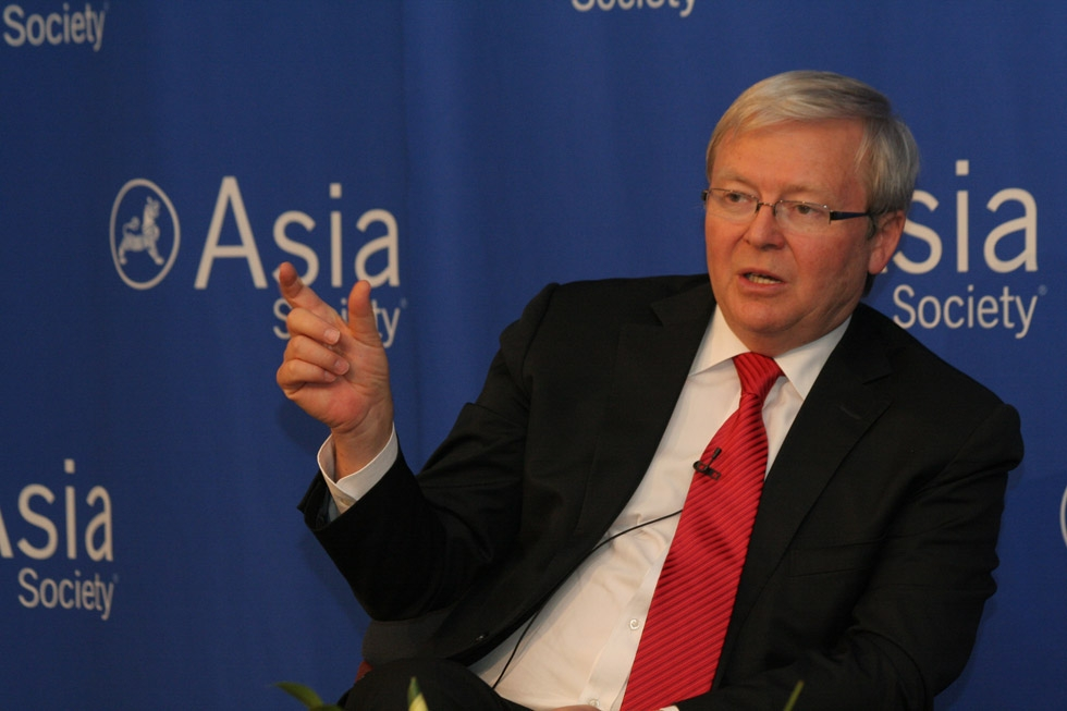 Australian Foreign Minister Kevin Rudd addresses the crowd at Asia Society New York on January 13, 2012. (Asia Society/Bill Swersey)