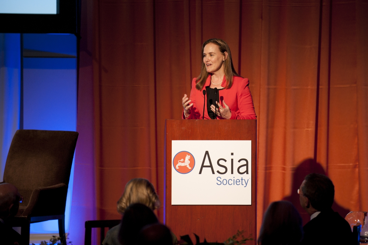 Former Under Secretary of Defense for Policy Michèle Flournoy delivers a speech at Asia Society's Washington Awards Dinner on June 19, 2012. (Margot Schulman)