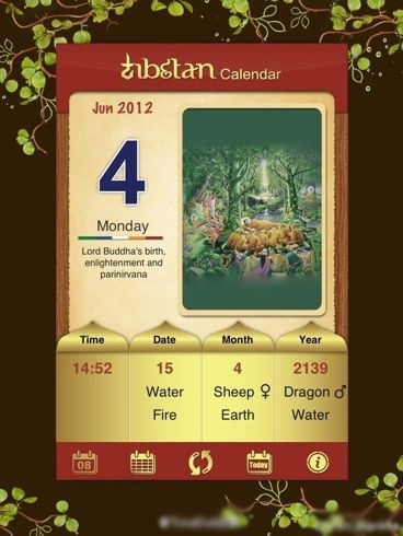 A Buddhists calendar showing the 2012 Vesak Day falling on June 4.