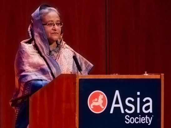 Bangladeshi PM Sheikh Hasina at the launch of a new report on climate change in New York on Sept. 26, 2012.