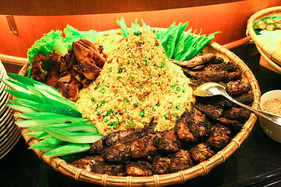 Buffet meal of rice and meat, Brunei.