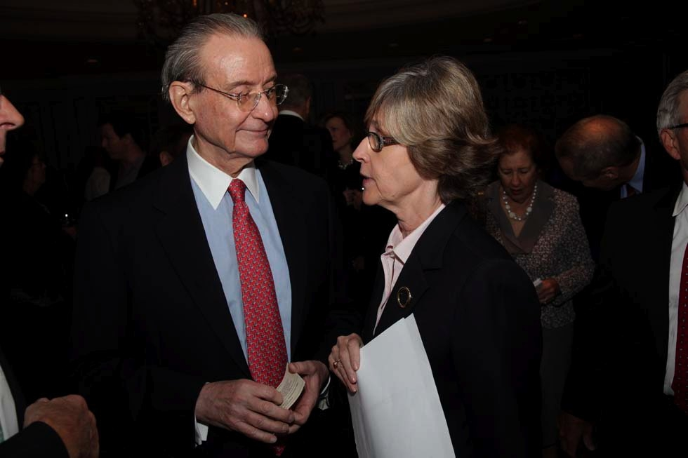 Trustee Bill Rhodes and Jan Hopkins, Economic Club of New York. (Brian Stanton)