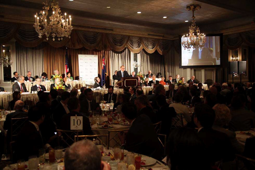 A wide shot of the event, with Bob Carr at the podium. (Brian Stanton)