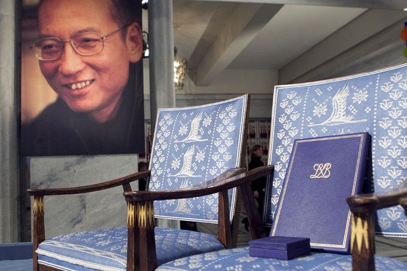 The empty chair with a diploma and medal that should have been awarded to this year's Nobel Peace Prize winner Liu Xiaobo stands in Oslo City Hall on December 10, 2010. (Junge, Heiko/AFP/Getty Images)