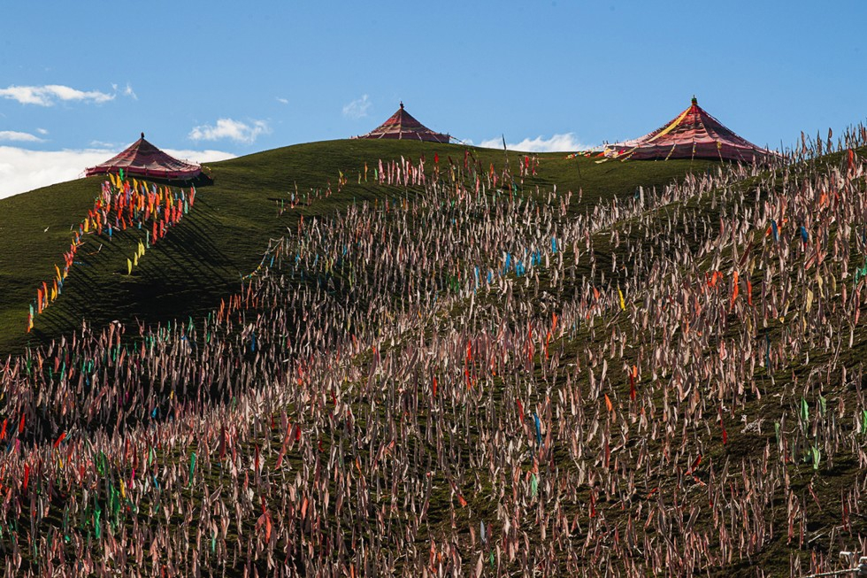 The hillside above the Segyagu Meditation Center is obscured by thousands of flags, which send prayers to the winds to disperse blessings throughout the land. (Michael Yamashita)