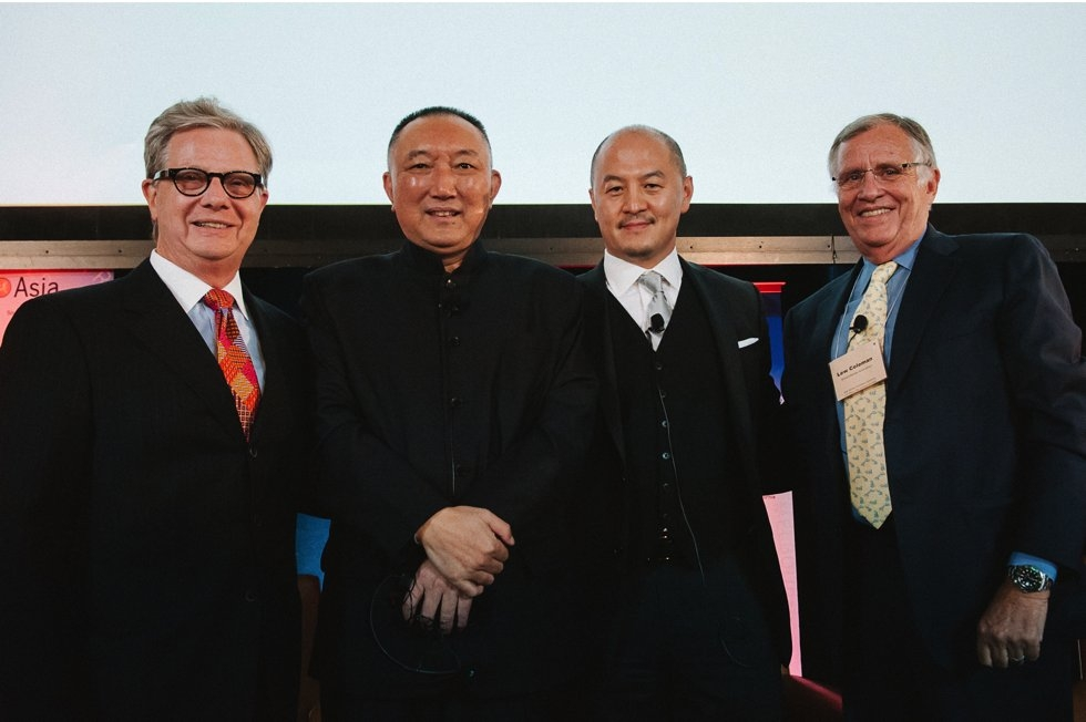 L to R: Thomas McLain, Chairman, Asia Society Southern California and Partner, Arnold and Porter; Han Sanping, Chairman, China Film Group; Peter Shiao, CEO, Orb Media Group; Lewis Coleman, President, Chief Financial Officer, DreamWorks. (Molly Ann/Asia Society)