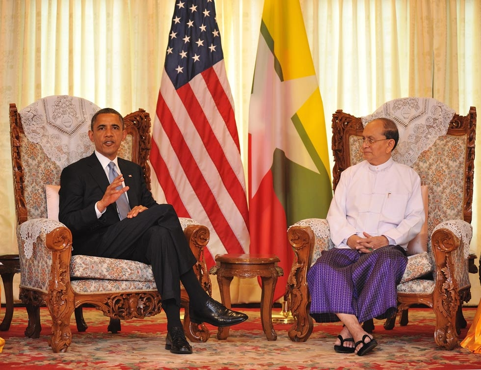 U.S. President Barack Obama meets with Burmese President U Thein Sein at Yangon Regional Parliament during his historic visit to the country on Nov. 19, 2012. (Photo by Kaung Htet/Getty Images)