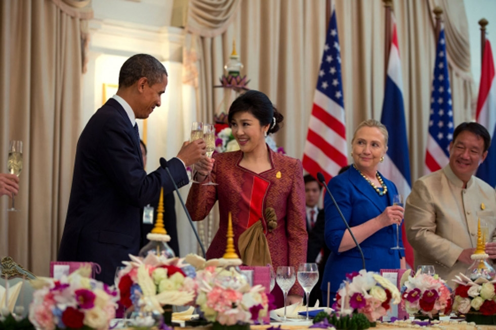Thai Prime Minister Yingluck Shinawatra offers a toast at an official dinner with U.S. President Barack Obama and U.S. Secretary of State Hillary Rodham Clinton at the Government House in Bangkok, Thailand on Nov. 18, 2012. (Pete Souza/U.S. Department of State)