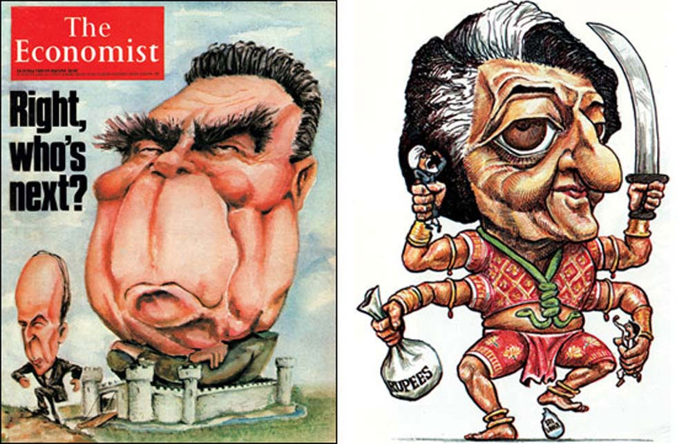 KAL's most infamous caricature may be his 1984 drawing (L) of then-Indian Prime Minister Indira Gandhi. (KAL)